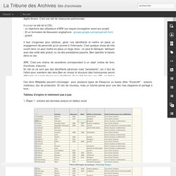 La Tribune des Archives: Choisir des URL persistantes pour la mise en ligne de sa base de données : ARK pas à pas...