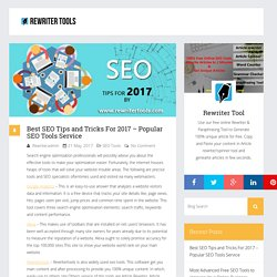 Best SEO Tips and Tricks For 2017 – Popular SEO Tools Service
