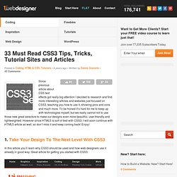 33 Must Read CSS3 Tips, Tricks, Tutorial Sites and Articles
