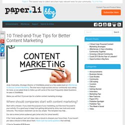 10 Tried-and-True Tips for Better Content Marketing