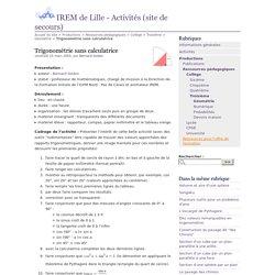 Trigonométrie sans calculatrice - IREM de Lille - Activités (site de secours)