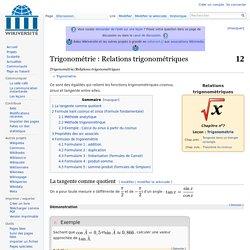 Trigonométrie/Relations trigonométriques — Wikiversité