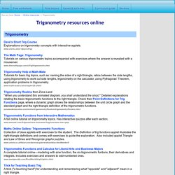 Trigonometry resources online