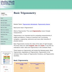 Basic Trigonometry (solutions, examples, videos, games)