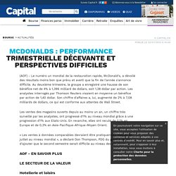MCDONALDS : performance trimestrielle décevante et perspectives difficiles