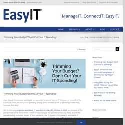 Trimming Your Budget? Don't Cut Your IT Spending! - EasyIT