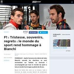 F1 : Tristesse, souvenirs, regrets : le monde du sport rend hommage à Bianchi