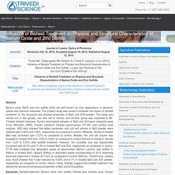 The Trivedi Effect® Influence on Barium Oxide & Zinc Sulfide