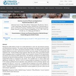 Properties of Manganese Sulfide Powder