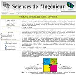 Sciences de L'Ingénieur - TRIZ : une méthodologie d'aide à l'invention