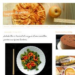 Trognon de pomme: Salade thaï à l'avocat et mangue et ses crevettes panées aux épices tandoori