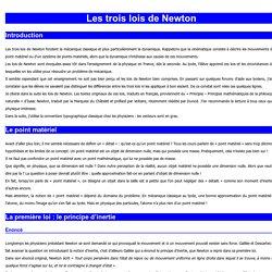 Les trois lois de Newton et leurs applications