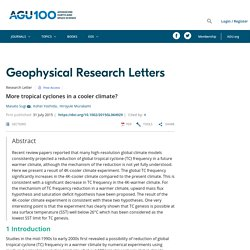 More tropical cyclones in a cooler climate? - Sugi - 2015 - Geophysical Research Letters