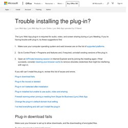 Trouble installing the plug-in? - Lync