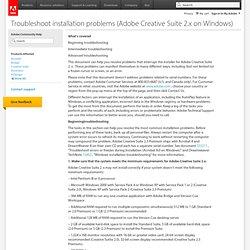 Troubleshoot installation problems (Adobe Creative Suite 2.x on Windows)