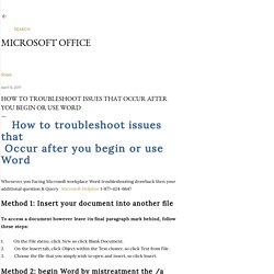 How to troubleshoot issues that Occur after you begin or use Word