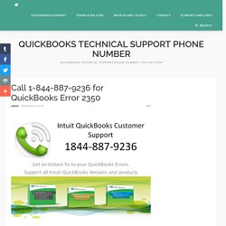 Call 1-844-887-9236 for troubleshoot QuickBooks Error 2350