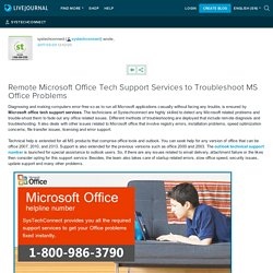 Remote Microsoft Office Tech Support Services to Troubleshoot MS Office Problems