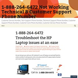1-888-264-6472 Troubleshoot the HP Laptop issues at an ease
