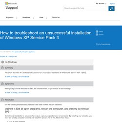 How to troubleshoot an unsuccessful installation of Windows XP Service Pack 3