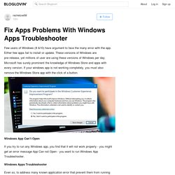 Fix Apps Problems With Windows Apps Troubleshooter