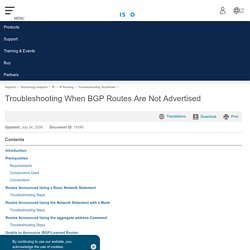 Troubleshooting When BGP Routes Are Not Advertised