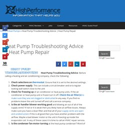 Heat Pump Troubleshooting Advice