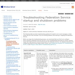 Troubleshooting Federation Service startup and shutdown problems