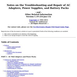 Notes on the Troubleshooting and Repair of AC Adapters, Power Supplies, and Battery Packs, and Other Related Information