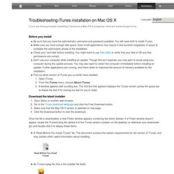 Troubleshooting iTunes installation on Mac OS X