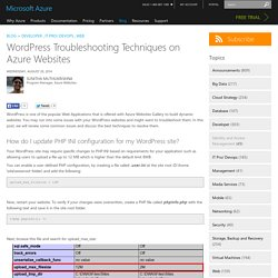 WordPress Troubleshooting Techniques on Azure Websites