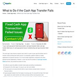 Troubleshooting/Fix Cash App Transaction Failed Issues