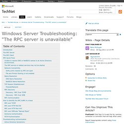 "Troubleshooting ""The RPC server is unavailable"" - TechNet Articles - United States (English)"