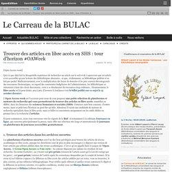 Trouver des articles en libre accès en SHS : tour d'horizon #OAWeek