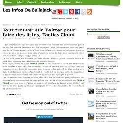 Tout trouver sur Twitter pour faire des listes, Tactics Cloud