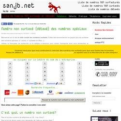 Trouvez le numéro de téléphone non surtaxé (+ de 3000 numéros non surfacturés) - Sanjb.net - 2012