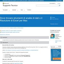 Dove trovare strumenti di analisi di dati o il Risolutore di Excel per Mac