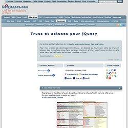 Trucs et astuces pour jQuery - Club des décideurs et professionn