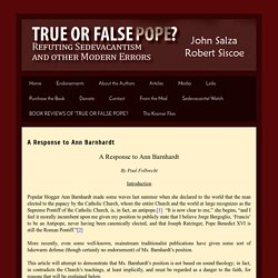 True or False Pope: A Response to Ann Barnhardt