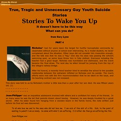 True Gay Youth Suicide Stories-True Gay Teen Suicide Stories