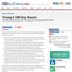Trump's 100-Day Boasts - FactCheck.org