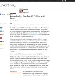 Trump Budget Based On $2 Trillion Math Error