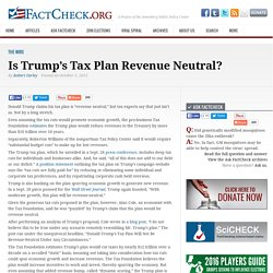 Is Trump's Tax Plan Revenue Neutral?