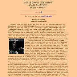 Miles Davis Jazz Trumpet Solo Transcription and Analysis by Steve Khan