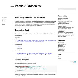 Truncating Text & HTML with PHP
