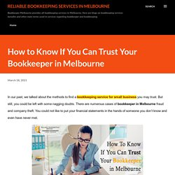 How to Know If You Can Trust Your Bookkeeper in Melbourne
