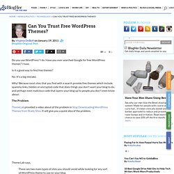 Can You Trust Free WordPress Themes?