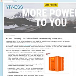 YIY-ESS: YIY-ESS Trustworthy, Cost Effective Solution For Home Battery Storage Pack!