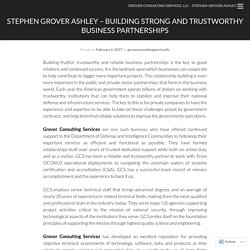 Stephen Grover Ashley – Building Strong and Trustworthy Business Partnerships