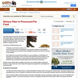 MERCOLA 12/07/11 Dietary Fiber in Processed Pet Food